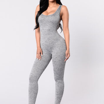 Burst Of Energy Jumpsuit - Heather Grey