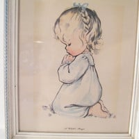 A Childs Prayer Framed Print of Charlot Byi Art,  original vintage wood frame, great child room or nursery decor, girl kneeling in prayer