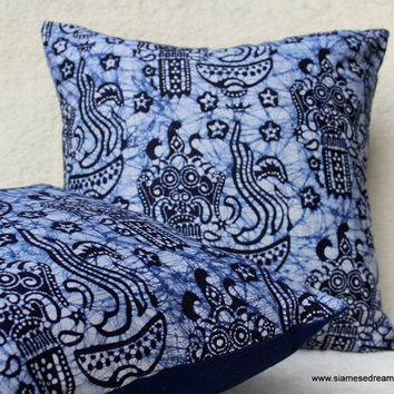 "16 "" Balinese Barong Batik Decorative Throw Pillow / Cushion Cover In Blue and White"