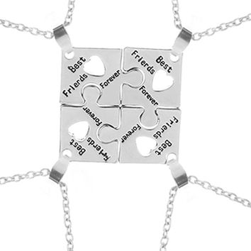 3 Style BFF Necklaces For 4 best friends forever Puzzle charm Necklace women Friendship Necklace Bestfriend Family Jewelry Gift