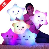 Hot 35*38cm Kawaii Star Pillow Color Change Luminous Pillow with Led Light Soft Stuffed Animals Doll Toys for Children