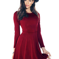 Red Skater Dress with Long Sleeve