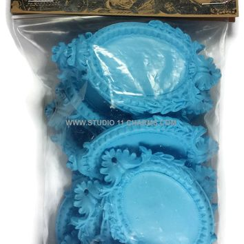 Resin Frame Setting Bezel Victorian Vintage Style Oval fit 40x30 cameo Blue 2.1