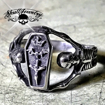 'Hold Strong' Coffin & Skeleton Ring (625)