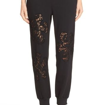 Moschino Lace Inset Fleece Trousers | Nordstrom