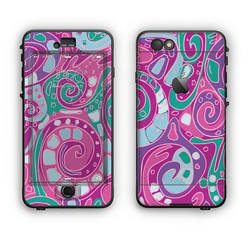 The Abstract Pink & Purple Vector Swirled Pattern Apple iPhone 6 LifeProof Nuud Case Skin Set