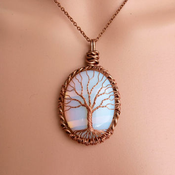 OPAL TREE Of LIFE Wire Wrapped Opal Tree of Life Pendant Necklace Copper Patina