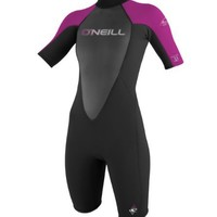 O'Neill Wetsuits Women's Reactor 2 mm Short Sleeve Spring Suit, Black/Festival, 14