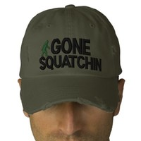 Gone Squatchin Deluxe version Baseball Cap from Zazzle.com