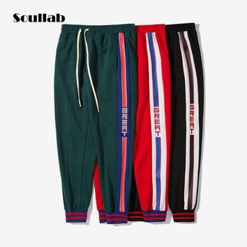soullab new collection for autumn winter men bottoms joggers pants vintage side stripe track sporty chic fashion sweatpants boy