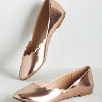 Gleam It, Do It Flat in Rose Gold | Mod Retro Vintage Flats | ModCloth.com