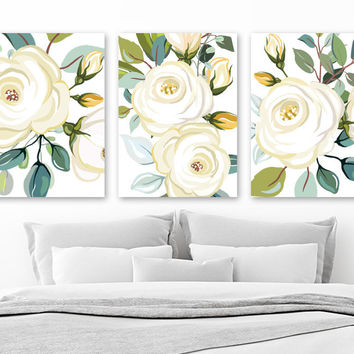 Ivory Teal WATERCOLOR Flower Wall Art, Watercolor Boho Shape Bedroom Art Pictures, Floral Watercolor Wall Decor, Set of 3 Canvas or Print