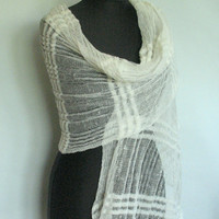 Linen Scarf Shawl Wrap Stole dark blue Light Transparent