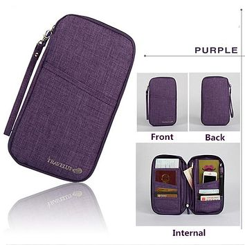 PURPLE Travel Journey Document Organizer Wallet Passport ID Card Holder Ticket Credit Card Bag Case