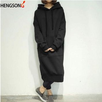 2018 Autumn Winter Coat Women Long Hoodies Hooded Sweatshirt Plus Size 5XL Loose Pullover Woman Female Hoody Hooded Long Dress