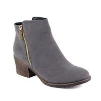 Reneeze PAMA-01 Womens Fashionable Stacked Heels Ankle Booties - GRAY-8