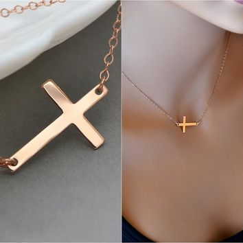 Rose Gold Sideways Cross Necklace, Horizontal Cross, Kelly Ripa, Celebrity Inspired, Big Rose Gold Cross Necklace