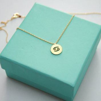 Dainty Circle Coin 12 Constellation Zodiac  Necklace
