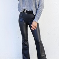 Good Feels Black Liquid High Waist Flares