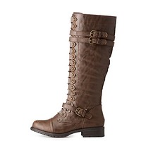 Buckle Mid-Length Combat Boots   Charlotte Russe