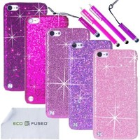 Eco-Fused Case Bundle for Apple iPod Touch 5 including 5 Bling Glitter Hard Cases / 4 Stylus Pens / 2 Screen Protectors / Microfiber Cleaning Cloth (Dark Purple, Purple, Pink, Light Pink, Hot Pink)