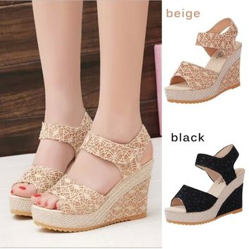 Women Shoes High Heels Wedge Sandals  Open Toe Fashion Platform Pump Gladiator