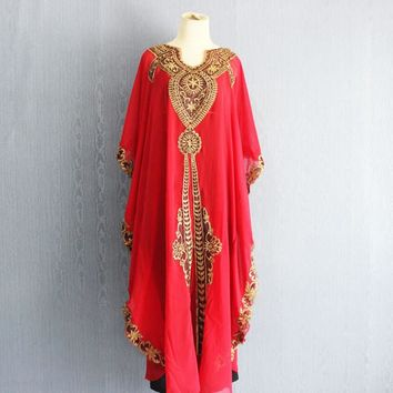 Moroccan Dubai Red Kaftan Dress, Plus Size Maxi Caftan Dress Chiffon Kaftans, Red Caftans Kaftans, Gold Embroidery Kaftan Dress