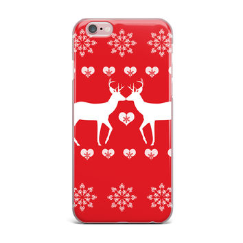 "Suzanne Carter ""Christmas Deer 2"" Holiday Pattern iPhone Case"