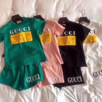 '' Gucci '' Print Short sleeve Top Shorts Pants Sweatpants Set Two-Piece Sportswear