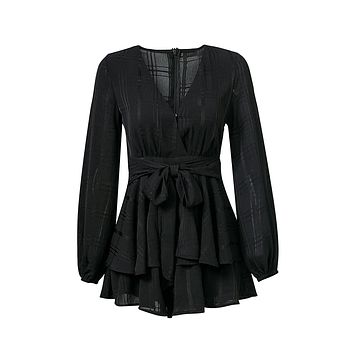 Playing It Cool Black Plaid Pattern Long Sleeve Cross Wrap V Neck Tie Waist Ruffle Tiered Romper Playsuit