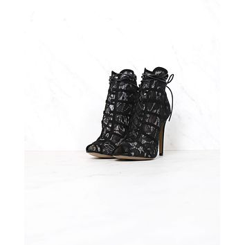Chinese Laundry - Jingle Lace Overlay Peep Toe Lace Up Bootie in Black