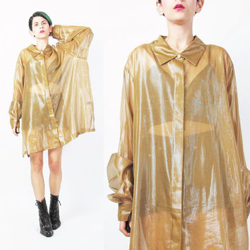 1990s Sheer Gold Blouse Plus Size See Through Shirt Long Sleeve Button Down Yellow Slouchy Sheer Shirt Layering Evening Blouse (XL/XXL)