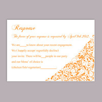 DIY Wedding RSVP Template Editable Word File Instant Download Rsvp Template Printable RSVP Cards Orange Rsvp Card Template Elegant Rsvp Card