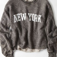 AEO Women's Don't Ask Why Cropped Sweatshirt