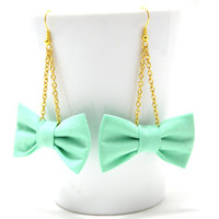 Mint and Gold Bow Earrings