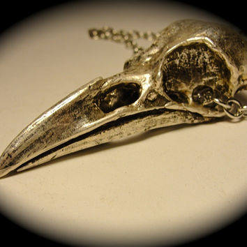 American Crow Skull Necklace antique silver