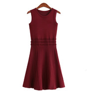 Red Round Neck Knit Pullovers Dress