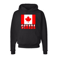 Canada Flag * Name - Snow Black Mens Hooded Sweatshirt | Flags of Nations or Flagnation