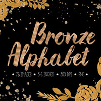 Bronze Alphabet Clip Art. Gold Foil Letters, Numbers, Symbols. Hand Written Bronze Font for Wedding. Metallic Gold Brush Script Clipart.