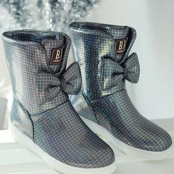 New Pink Round Toe Bow Sequin Fashion Ankle Boots