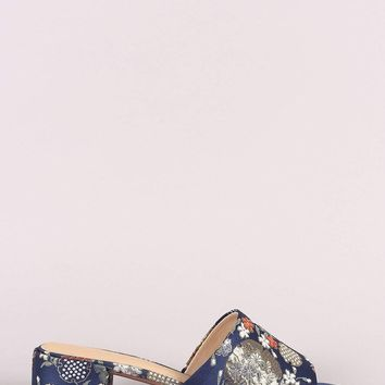 City Classified Floral Open Toe Block Heeled Sandal