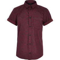 River Island Boys dark red ditsy print shirt