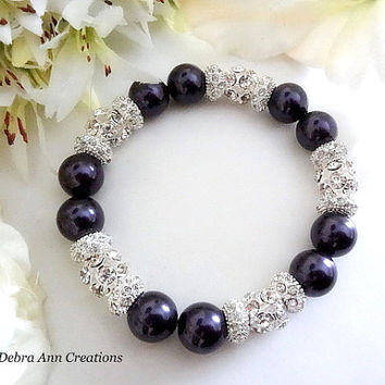 Swarovski Purple Pearl Bracelet Eggplant Purple Wedding Bridal Jewelry Purple Bridesmaid Bracelet Mother of Bride Groom Bracelet Gift Chunky