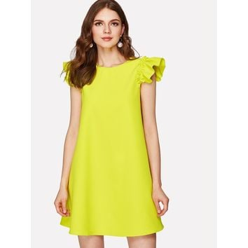Button Keyhole Back Ruffle Shoulder Swing Dress