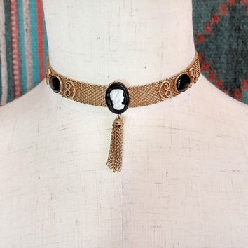 Vintage Cameo Necklace with Tassel Mesh Chain Necklace Choker Gold Tone Metal Gold Black Mother of Pearl Costume Jewelry Cameo Choker