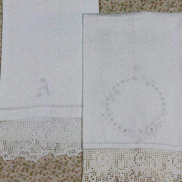 Pair Shabby Chic Towels, Mismatched Ivory Damask Hand Towels, Crochet Edging, Monogram A in Medallion, Vintage French Country Linens