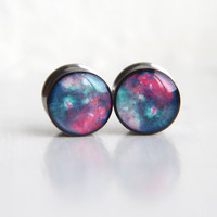 Nebula Gauges, Space Ear Plugs, Geeky Gauges, Astronomy Plugs - sizes 00, 7/16, 1/2, 9/16, 5/8, 3/4, 7/8, 1""