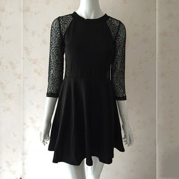 New Fashion Women Short Skater Dress Sexy See Through 3/4 Sleeve Crochet Black Party Dresses Casual A-Line Vestidos Plus Size