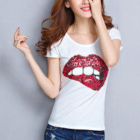 Sequined Big Lips Print Short Sleeve Graphic Tee