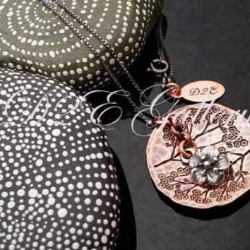 D2E hand stamped mixed metal artisan necklace  copper and silver Tree branches with cherry blossom